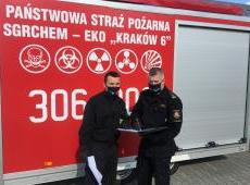 Działania prowadzone przez KM PSP w Krakowie wspomagające profilaktykę COVID 19 - Szpital Uniwersytecki w Krakowie