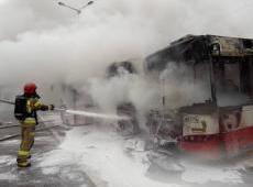 Pożar autobusów w Nowym Sączu