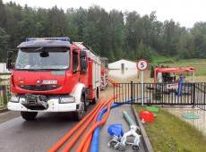 Działania strażaków na terenie powiatu myślenickiego - akcja powodziowa