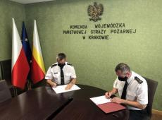 Podpisanie porozumienia pomiędzy Komendą Wojewódzką PSP w Krakowie oraz Szkołą Aspirantów PSP w Krakowie
