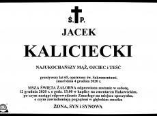 Z przykrością informujemy że w dniu 4 grudnia 2020 roku zmarł brygadier Jacek Kaliciecki wieloletni pracownik Komendy Wojewódzkiej PSP w Krakowie